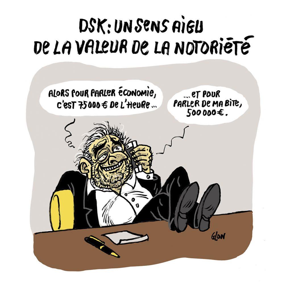 dessin presse humour Dominique Strauss-Kahn image drôle notoriété valeur bite