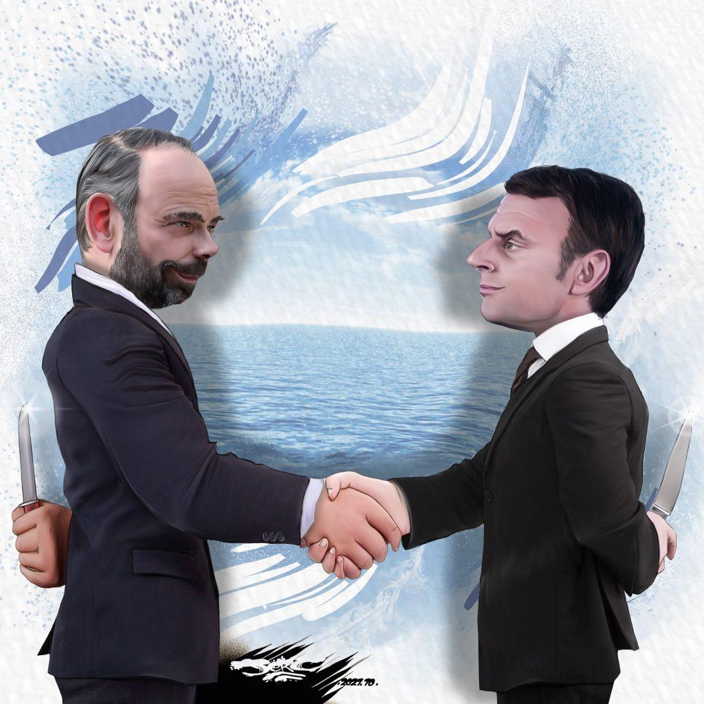 dessin presse humour Édouard Philippe horizons image drôle Emmanuel Macron présidentielle 2022