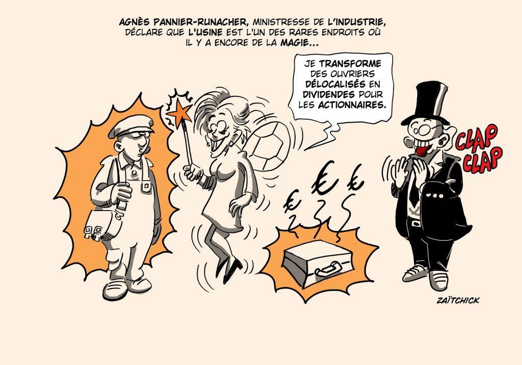 dessin presse humour Agnès Pannier-Runacher image drôle industrie usine magie