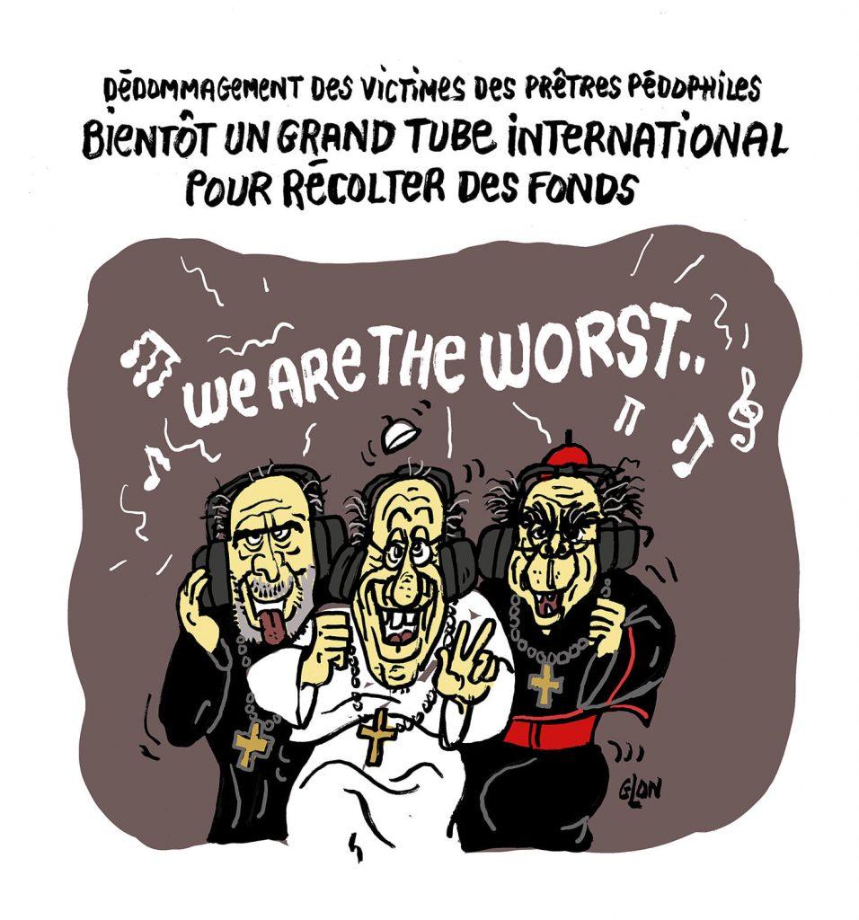dessin presse humour rapport Sauvé image drôle pédophilie église dédommagement victime