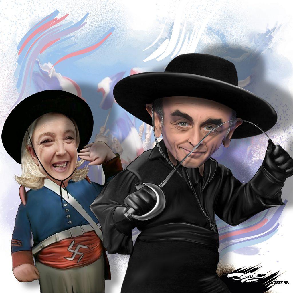 dessin presse humour Éric Zemmour Zorro image drôle Marine Le Pen présidentielle 2022