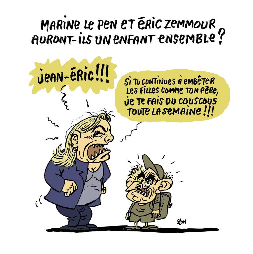 dessin presse humour Éric Zemmour image drôle Marine Le Pen