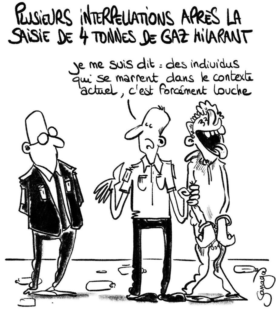 dessin presse humour gaz hilarant image drôle Villeurbanne saisie interpellation