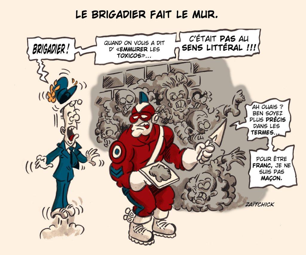 image drôle Le Brigadier drogués crack Paris dessin humour déplacement Pantin mur